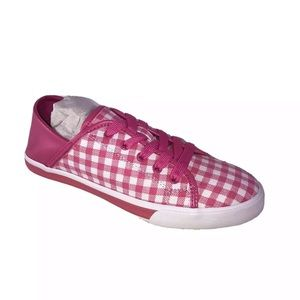 Pink checks lace up sneakers